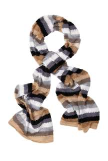 Grey and Silver Wide Striped Lurex Knit Scarf by Missoni