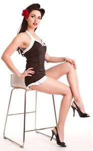 1950s SWIMSUIT Retro Inspired Black One Piece Pin UP Steady Clothing
