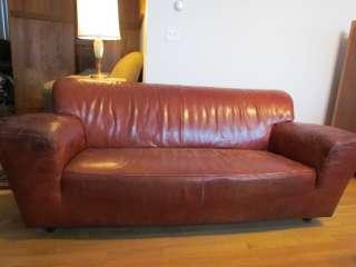 Vintage GERARD VAN DEN BERG / MONTIS Brown Leather Retro Art Deco Sofa