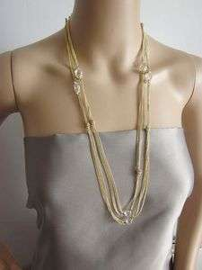crew Gold Tone Glass Crystal Long Necklace