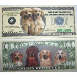 Set of 10 Bills Golden Retriever Million Dollar Bill Toys & Games