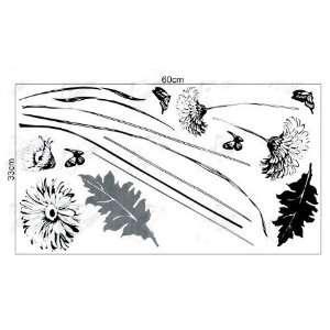 Easy Instant Decoration Wall Sticker Decal   Black Chrysanthemum