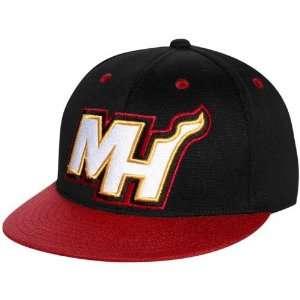 adidas Miami Heat Black Red 210 Fitted Flat Brim Hat