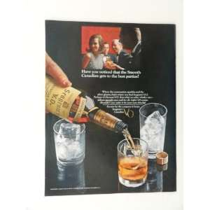 Seagrams V.O. 1965 full page print ad(pouring whiskey into glasses