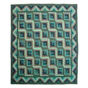 Quilt Twin Green Log Cabin