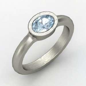 Byzantium Ring, Oval Aquamarine 14K White Gold Ring Jewelry