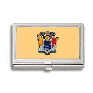 New Jersey State Flag Business Card Holder Metal Case Office Products