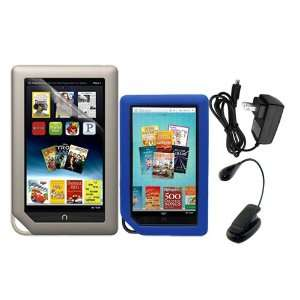 + Blue Soft Silicone Cover Case + Black LED Clip on Reading Book