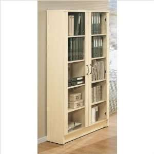 Shelf Bookcase with Glass Doors Finish Light Cherry