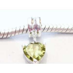 silver peridot heart dangle charm for European charm bracelets