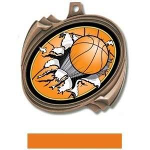 Custom Basketball Bust Out Insert Medals M 2201B BRONZE MEDAL/ORANGE