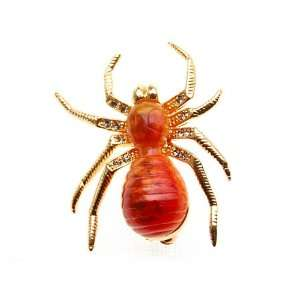 Crystal Rhinestone Studded Legs Spider Insect Bug Brooch Pin Jewelry