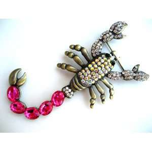 Crystal Rhinestone Scorpion Costume Bug Brass Tone Pin Brooch Jewelry