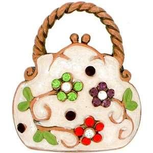 Vintage Style White Lady Handbag Swarovski Crystal Pin Brooch Jewelry
