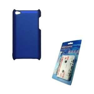 Blue Rubber Hard Case + White Cassette Audio Adapter for