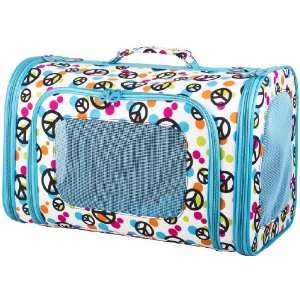 Blue Peace Sign Pet Dog Cat Carrier  16