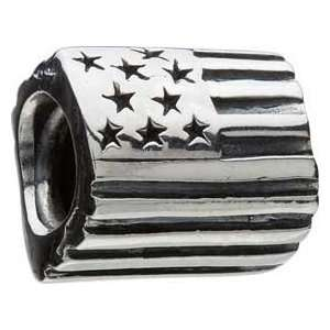 Chamilia Silver American Flag USA Bead * Authentic GA 47 Jewelry