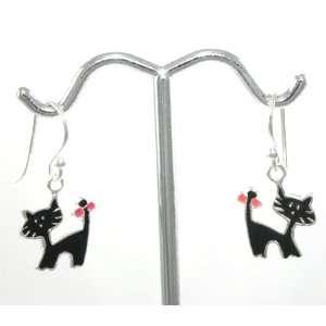 Beautiful Tomas Black Kitty Cat Enamel Charm Dangle Earrings 925
