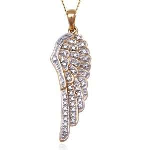 Yellow Gold Plated Sterling Silver Diamond Wing Pendant, 18 Jewelry