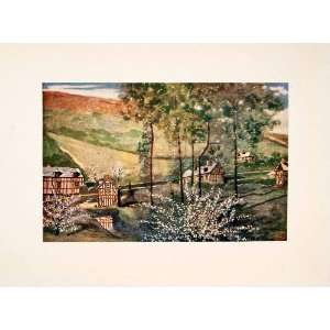 1905 Color Print Cherry Blossom Trees Cottages Landscape