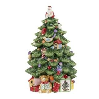 Spode Christmas Tree Sculpted Christmas Tree Shaped Covered Cookie Jar