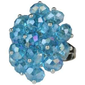 Cluster of Light Blue Crystal Beads Stretch Bling Ring Jewelry