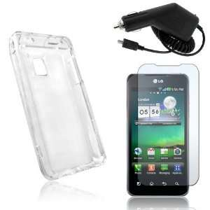 Clear Crystal Hard Plastic Skin Case Back Cover + Car Charger + Clear