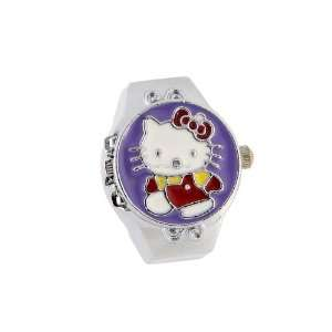 Cute Hello Kitty Flip Open Analog Ring Girls Kids Watch