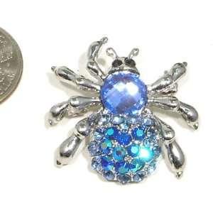 Austrian Rhinestone Spider Design Silver Plated Pin Brooch / Pendant