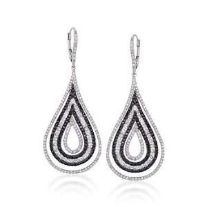 Black and White Diamond Drop Earrings In 18kt White Gold Jewelry