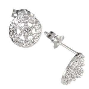 10k White Gold Diamond Cluster Earrings (1/8 cttw, I J Color, I1 I2