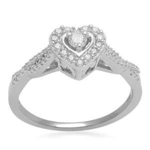 10K White Gold Diamond Bridal Heart Ring (1/4 cttw, I J Color, I2 I3