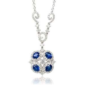 Diamond and Blue Sapphire 18k White Gold Pendant Necklace Jewelry
