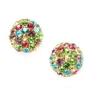 Fancy Multi Color Crystal Pave Disco Ball Gold Tone Half Dome Pierced