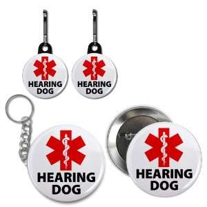 HEARING DOG ALERT Medical Alert Button Zipper Pull Charms