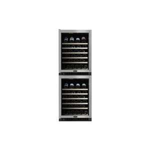 Wine Cellar Black Cabinet Stainless Steel Frame and Glass Door