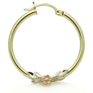 Medium Rose & Leaves Round Tri Color Gold Hoop Earrings Jewelry