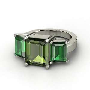 Ring, Emerald Cut Green Tourmaline 14K White Gold Ring with Emerald