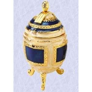 Royal Blue gold Faberge Egg Enameled sculpture (The Digital Angel