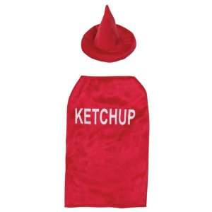 Canine Polyester 20 Inch Ketchup Dog Costume, Large, Red