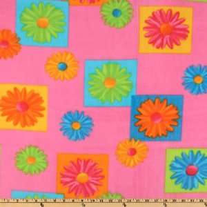60 Wide Crazy Daisy Fleece Pink Fabric By The Yard Arts