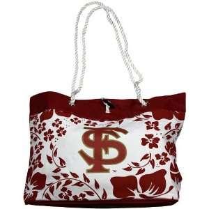 Florida State Seminoles (FSU) Ladies White Garnet Hibiscus Tote Bag