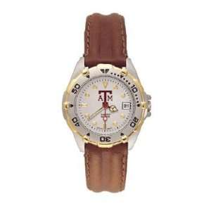 Aggies All Star Ladies Black Leather Strap Watch