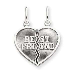 14k White Gold Best Friend Break apart Charm Jewelry
