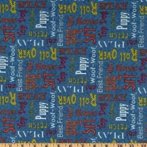 44 Wide Mans Best Friend Dog Words Blue Fabric By The