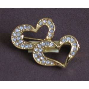 Fashion Brooch Pin Two Gold Tone Hearts with Crystals