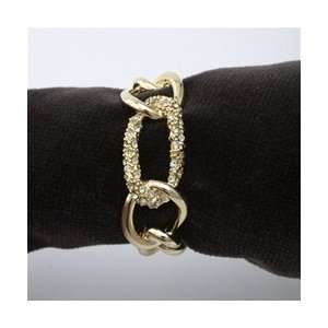 Objet Gold Plated Chain Napkin Rings, Swarovski Crystals Link, Set/4