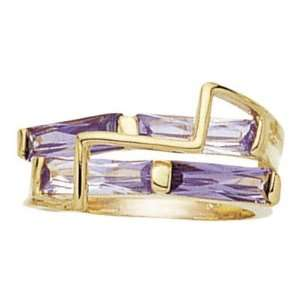 18K Gold Plated Violet Cubic Zirconia Band Ring   Size 7