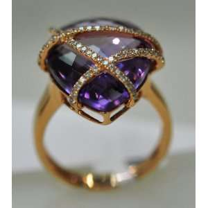 18KT Rose Gold Diamond & Amethyst Ring Jewelry