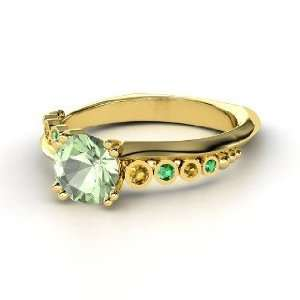 Isabella Ring, Round Green Amethyst 14K Yellow Gold Ring with Citrine